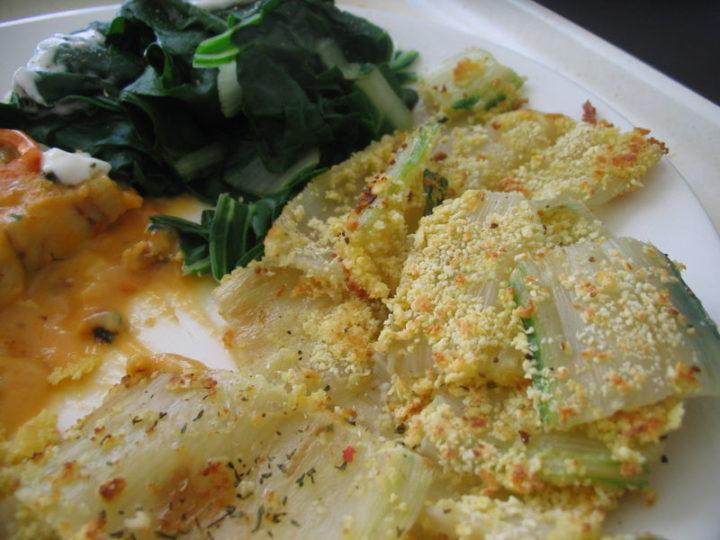 recette des côtes de blettes panées aux légumes et au fromage de chèvre